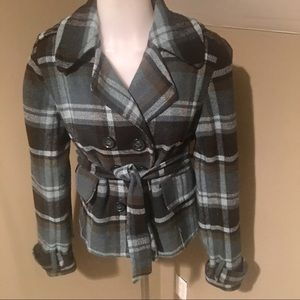 Decree Women's Plaid Trench Style Belted Jacket
